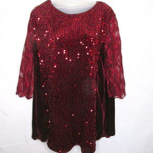 Burgundy Wine Sequin Lace 3/4 Sleeve Top